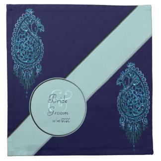 Pavo real de la alheña (azul) (boda) servilletas imprimidas