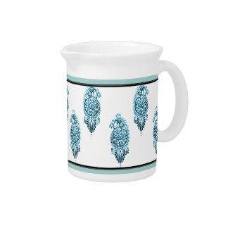 Pavo real de la alheña (azul) jarras para bebida