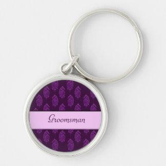 Pavo real de la alheña (boda) (violeta) llavero redondo plateado