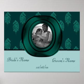 Pavo real de la alheña (turquesa) (boda) poster