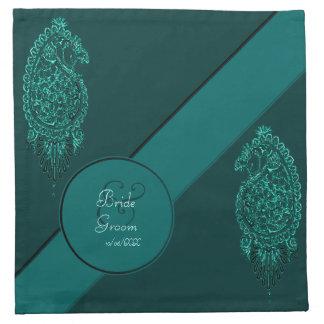 Pavo real de la alheña (turquesa) (boda) servilleta de papel