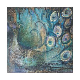 Pavo real de la impresión del arte de la lona lienzo envuelto para galerías