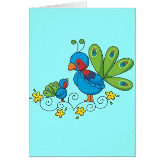 Pavo real de la mamá y del bebé tarjeta de felicitación