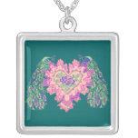 Pavo real de la tarjeta del día de San Valentín Collar Personalizado