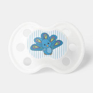 Pavo real de los azules cielos chupetes para bebés