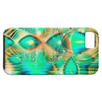 Pavo real de oro del trullo, cristal de cobre abst iPhone 5 cobertura