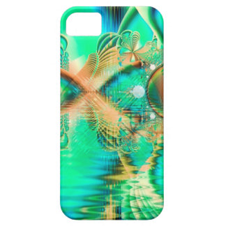 Pavo real de oro del trullo, cristal de cobre abst iPhone 5 Case-Mate carcasas