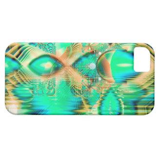 Pavo real de oro del trullo, cristal de cobre abst iPhone 5 coberturas