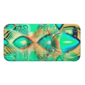 Pavo real de oro del trullo, cristal de cobre abst iPhone 5 fundas