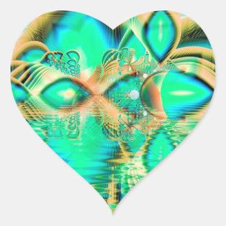 Pavo real de oro del trullo, cristal de cobre pegatinas corazon