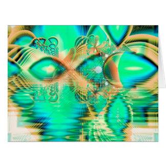 Pavo real de oro del trullo, cristal de cobre tarjeta de felicitación grande