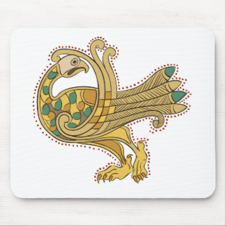 Pavo real de oro medieval céltico, cojín de ratón mouse pad