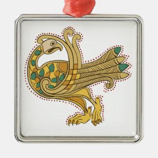 Pavo real de oro medieval céltico, decoración adorno cuadrado plateado