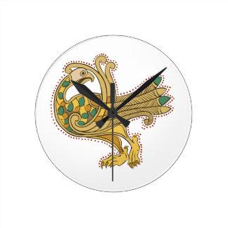 Pavo real de oro medieval céltico, Wallclocks Reloj Redondo Mediano