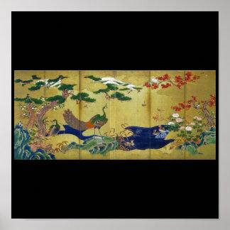 Pavo real de pintura japonés de la C. 1500's Poster