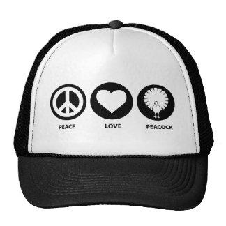 Pavo real del amor de la paz gorras de camionero