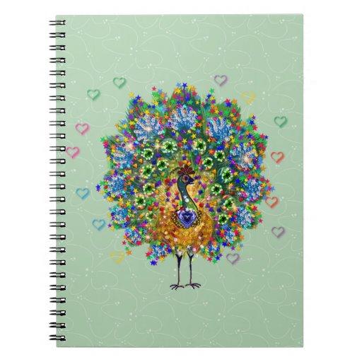 Pavo real del amor del arco iris cuaderno
