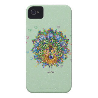 Pavo real del amor del arco iris iPhone 4 Case-Mate protectores