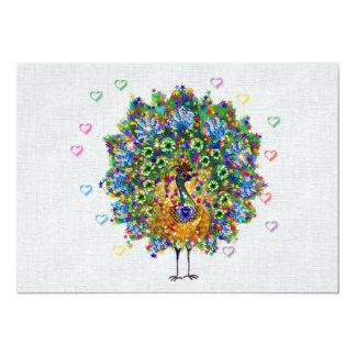 Pavo real del amor del arco iris invitación 12,7 x 17,8 cm