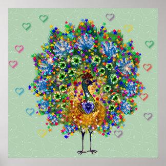 Pavo real del amor del arco iris poster