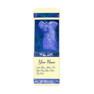 PAVO REAL del AMOR del BODA, crema azul Etiqueta De Remitente