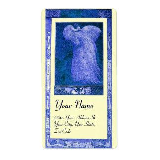 PAVO REAL del AMOR del BODA, crema azul Etiquetas De Envío