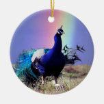 Pavo real del árbol de navidad de la alegría ornamentos de reyes magos