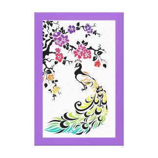 Pavo real del arco iris y frontera de la púrpura impresión en tela