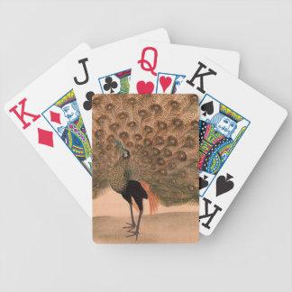 Pavo real del asiático del vintage baraja de cartas