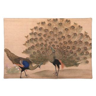 Pavo real del asiático del vintage mantel individual