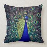 Pavo real del azul de cobalto almohada
