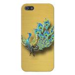 Pavo real del baile en el oro cepillado iPhone 5 cárcasas