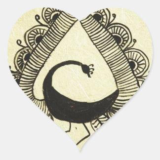 pavo real del baile pegatina en forma de corazón