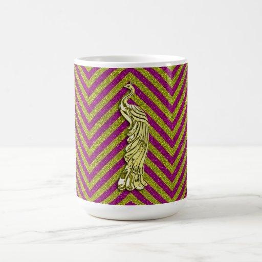Pavo real del brillo del amarillo y del rosa tazas de café