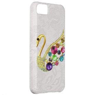 Pavo real del oro y caso del iPhone 5 del cordón d