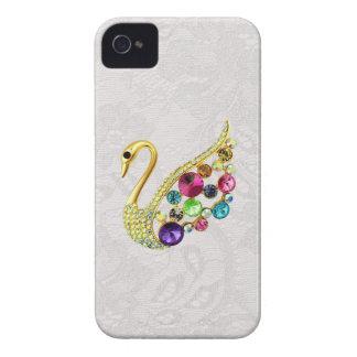 Pavo real del oro y cordón Blackberry de Paisley Funda Para iPhone 4 De Case-Mate