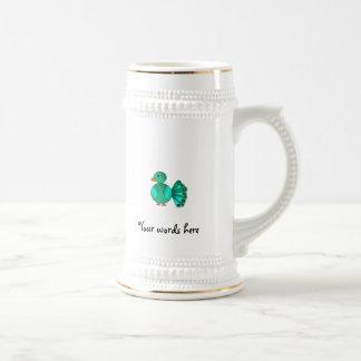 Pavo real del verde azul tazas