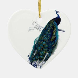 Pavo real del vintage adorno de cerámica en forma de corazón