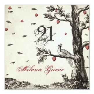 """Pavo real del vintage en el árbol de amor - invitación 5.25"""" x 5.25"""""""