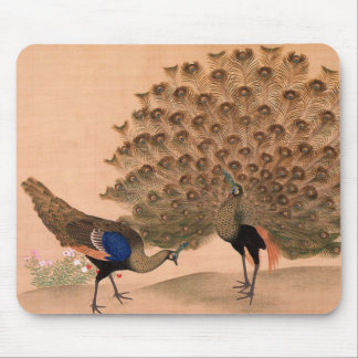 Pavo real del vintage mouse pad