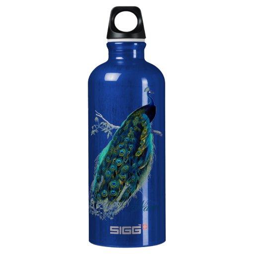Pavo real del vintage, personalizado botella de agua