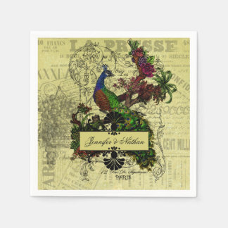 Pavo real del vintage personalizado casando las servilleta desechable