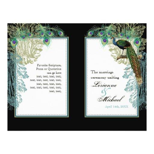 Pavo real del vintage, plumas - programa del boda tarjetas publicitarias