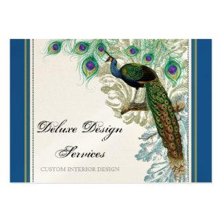 Pavo real del vintage plumas - tarjetas de visita