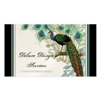 Pavo real del vintage, plumas - tarjetas de visita