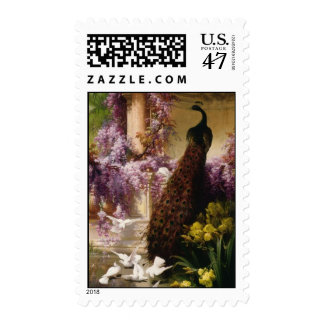 Pavo real del vintage sello