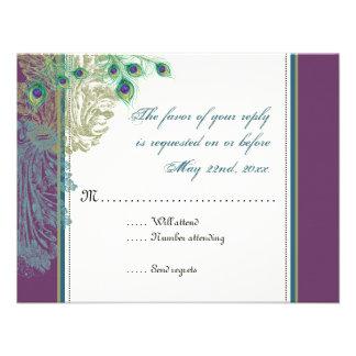 Pavo real del vintage tarjeta de la respuesta de invitaciones personales