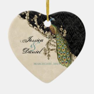 Pavo real del vintage y ornamento del navidad de l adorno para reyes