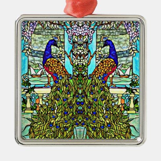 Pavo real del vitral de Nouveau VintageTiffany del Ornamentos Para Reyes Magos