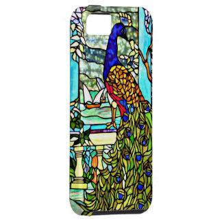 Pavo real del vitral del vintage de Nouveau del ar iPhone 5 Protector